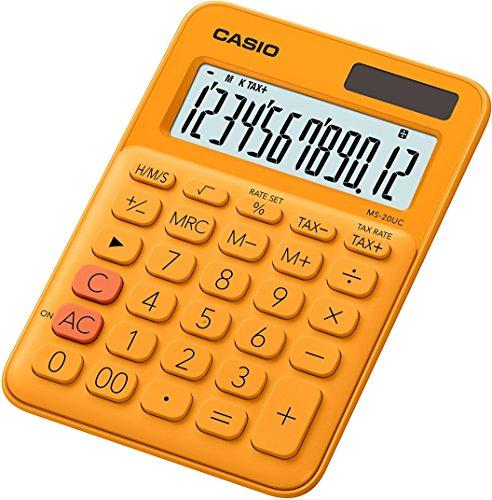CASIO Tischrechner MS-20UC-RG, 12-stellig, in Trendfarben, Steuerberechnung, Zeitumrechnung, Solar-/Batteriebetrieb