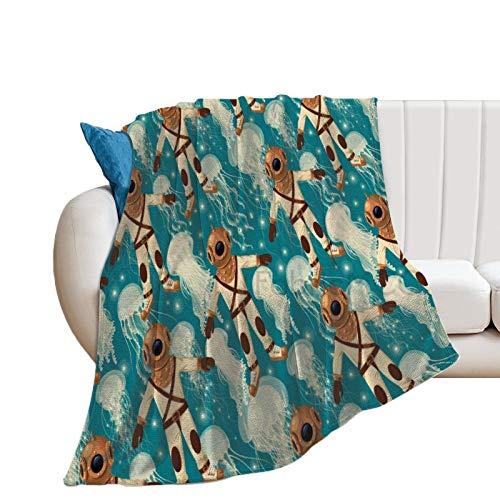 Jellyfish Vintage Diver Suit Medusas en el fondo tema de baldosas, para deportes acuáticos, manta de cama, 76,2 x 101,6 cm, manta decorativa, manta de felpa de franela suave