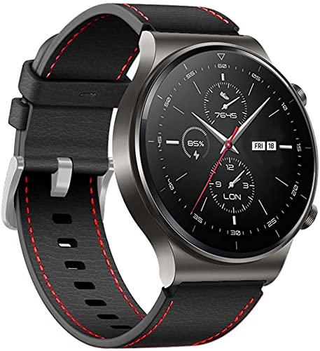 JWTPRO Correa de cuero de 22 mm para Huawei Watch GT 2 PRO Correa de correa para Huawei GT2 Pro con accesorios de correa intercambiables (color: negro, tamaño: para Huawei GT 2 Pro)
