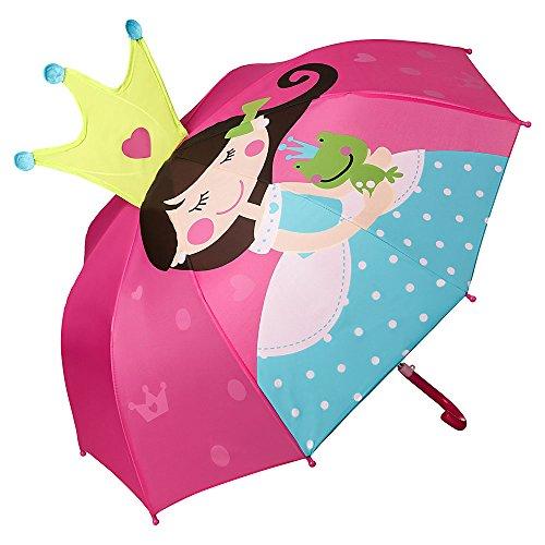 VON LILIENFELD Regenschirm Kind Kinderschirm Junge Mädchen pink Prinzessin mit Frosch bis ca. 8 Jahre