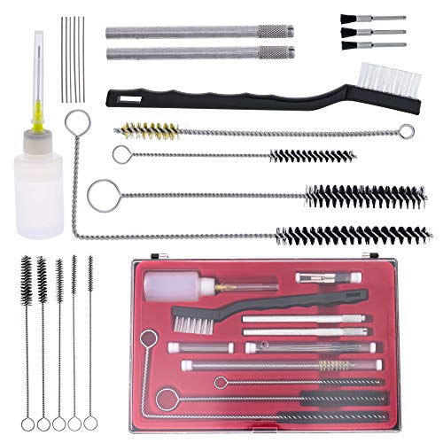 TCP Global Professional 23 Piece Spray Gun Cleaning Kit with Case, Complete Set to Clean HVLP Paint Guns, Air Tools, Gravity, Detail, Airbrush