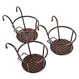 HowRU Iron Art Hanging Baskets Flower Pot Holder Over The Rail Metal Fence Planters Assemble - Pack of 3 (Black)