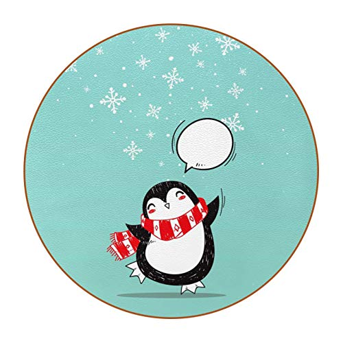 DIY Coasters Set of 6, Snow Christmas Penguin Microfiber leather Drink Coaster Double-sided non-slip and No Holder for Cups Novelty Gift for Home Office Bar Decor 4.3 in