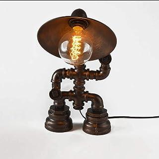 ADFD Lámpara de mesa robot de pipa de agua Las Pipas de Agua de Hierro Forjado Vintage lámpara de Mesa Industrial(Sin bombilla)