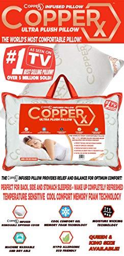 Copperx Ultra Plush Pillow - Queen Size, 1 Pound