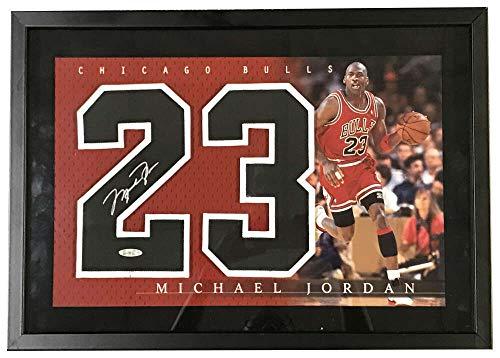 Michael Jordan Signed Auto Jersey Number Display UDA Upper Deck COA 20.5x14.5