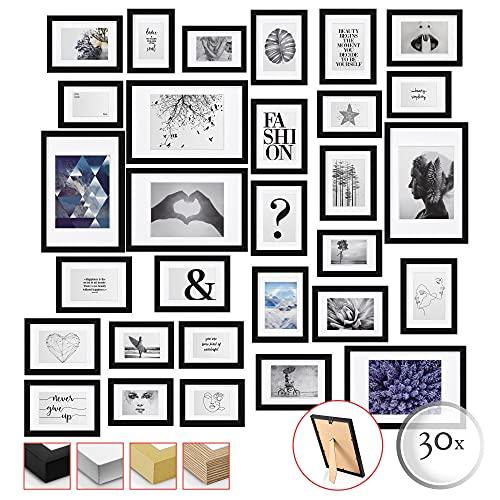 bomoe 30er Set Bilderrahmen - Collage Fotorahmen Holz & Kunststoffglas – Holzbilderrahmen mit Passepartout - 10x 10,5x15cm / 15x 13x18cm / 5x 20x30cm - Fotowand Bilderrahmen Set Schwarz - Emotion