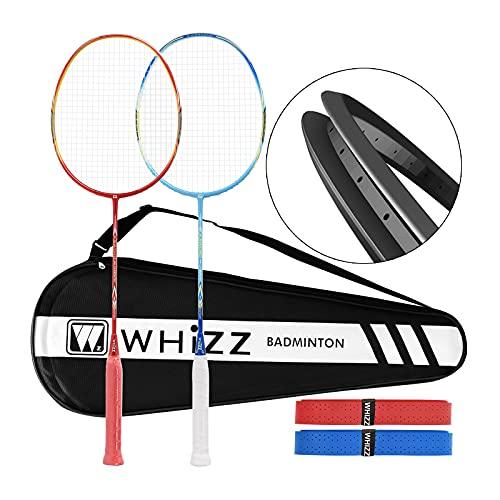 QICHUAN Whizz Heavy Duty Graphite Badminton Racket, Full Carbon Fiber Professional Racquet Set for Adults, w/ Badminton Bag & 2 Racquet Grip