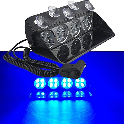 LifeUp 12V 16 LED Lumières stroboscopiques d'avertissement de danger d'urgence pour pare-brise de tableau de bord intérieur avec ventouses (Bleu)