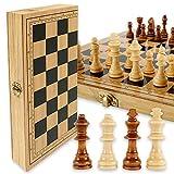 harupink Juego de ajedrez de madera, 29 x 29 cm, plegable, juego internacional de ajedrez, para viajes, estándar, para niños, principiantes y adultos