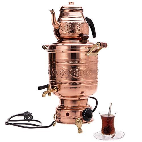 Türkische Elektrische Kupfer Samowar/Semaver mit Teekanne (4,5 liter) - Türkische/Russische Samovar - Handgefertigte Kupfer Semaver/Samowar
