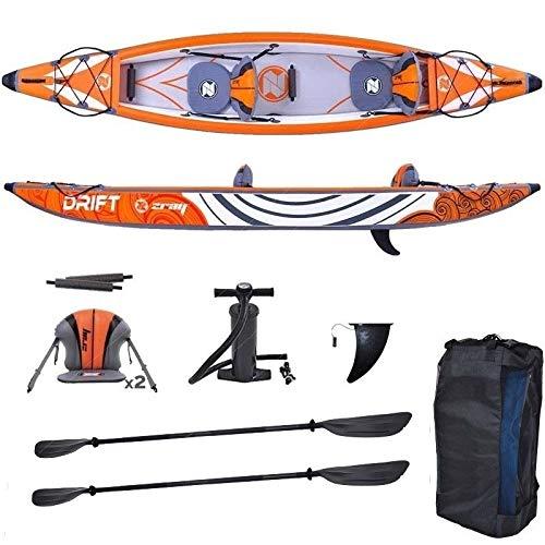 Kayak Hinchable | Modelo Zray KAYAK DRIFT | Dos personas con 2 plazas con Asientos Inflables doble rígido con alta presión y kit de accesorios extra Funda Bomba Remo para navegar por el Mar Río Pescar