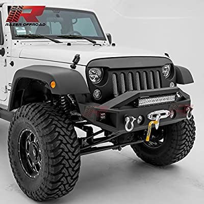 "Razer Auto 07-17 Jeep Wrangler JK Black Textured Rock Crawler Stubby Front Bumper with OE Fog Light Hole, 2x D-Ring, 21"" LED Light bar, 2x Side LED Light & Winch Mount Plate"