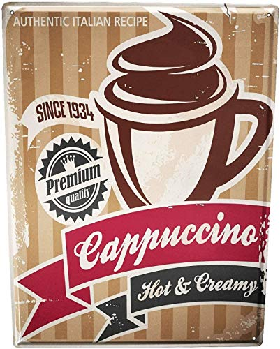8'' X 12'' Cappuccino Vintage Iron Painting Metal Tin Sign Retro Home Wall Decor Art Poster for Club Cafe Bar Billiards Waterproof and Rustproof