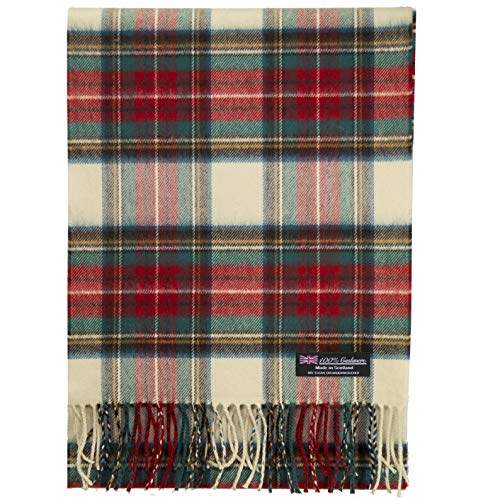 2 PLY 100% Cashmere Scarf Elegant Collection Made in Scotland Wool Solid Plaid (Beige Red Green ZS31)