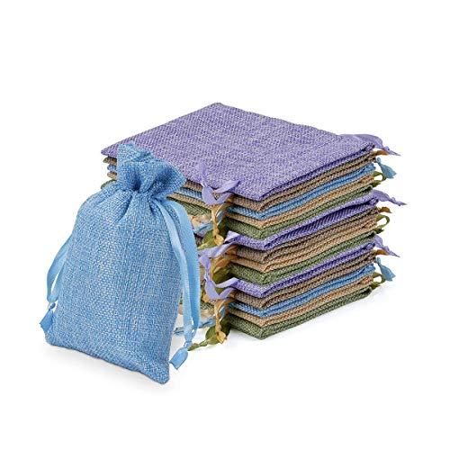 Miavogo Jutesäckchen Säckchen zum Befüllen Jutebeutel Stoffbeutel Kleine Geschenke für Lavendel Kräuter Adventskalender (Bunt - 30 Stück, 10,5 x 15,5 cm)