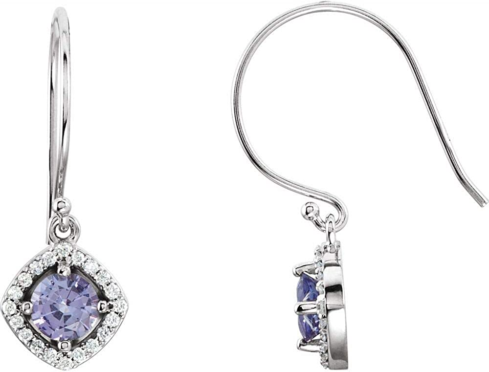 Tanzanite and 1/5 Cttw Diamond Earrings (27mm x 9.2mm) (.20 Cttw)