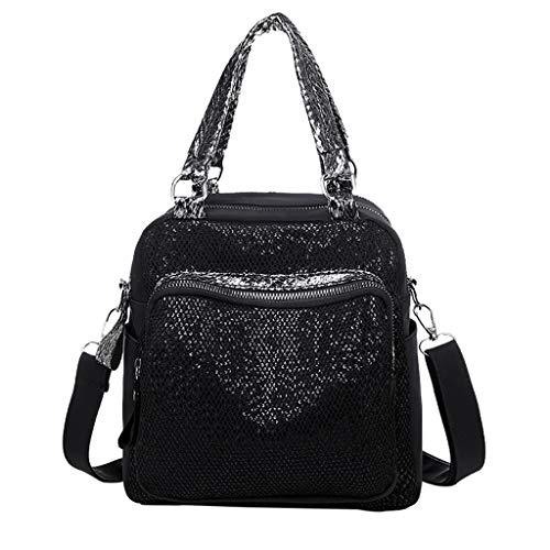 Linkay Neuer HeißEr Verkauf Mode Wild Damen Pure Farbe Tasche Rucksack mit Pailletten Handtasche Bling Rucksäcke UmhäNgetasche Rucksack-Schwarz