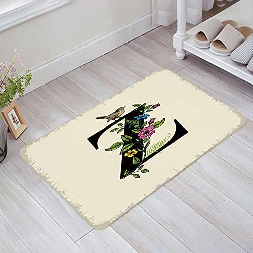 N/A Alfombras para Sala Felpudo Bird On Z-Buckle con Felpudo Decorativo Floral Antideslizante Lavable en el Barco Bienvenido Alfombrillas de baño para el Piso de Entrada Interior 24'x36'