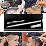 Hair Engraving,MagiForet Hair Tattoo Pen,Hair Razor Pen,Hair Tattoo Trim Styling Face Eyebrow Shaping Device, Hair Engraving Shaver Pen + 10 Blades + Tweezers for Men Women Teens (Silver)