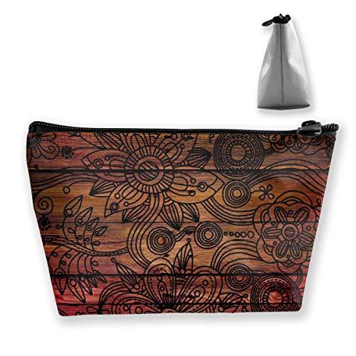 Dark Wooden Texture Wallpaper Hintergrund Customized Trapezoid Aufbewahrungstasche Damen Wasserdicht für das Tragen von Reisen
