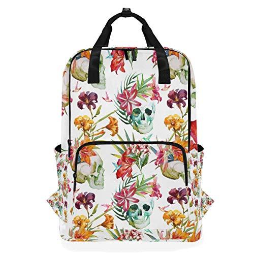 Shoulder Bag Flower Colorful Skull Pattern Daypack Backpack Casual Laptop Bookbag Multi Function