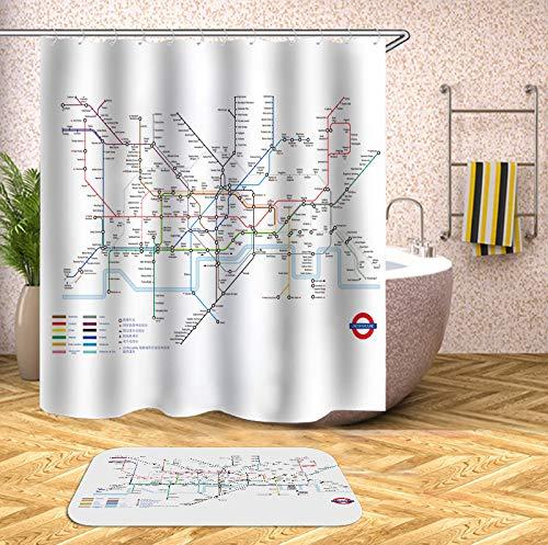 YCZZ Europe en de Verenigde Staten creatieve Londen metro kaart polyester douchegordijn Douche gordijn