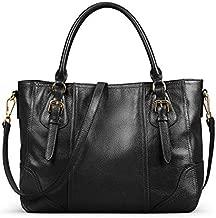 Kattee Women's Leather Purses and Handbags, Top Handle Satchel Shoulder Bag Designer Tote(Black)