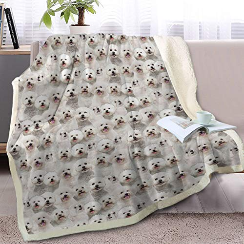Blessliving Bichon Frise Throw Blanket Fuzzy Dogs Blanket Kids Adults Cute Puppy Fleece Blanket Reversible Animal Pattern Sherpa Blanket Gifts for Women (50 x 60 Inches)