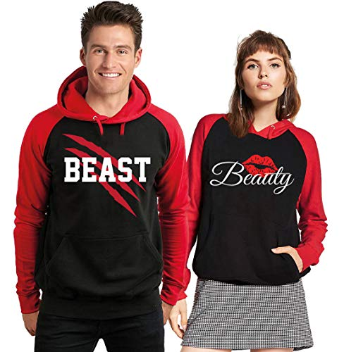 S&R New Beast and Beauty - Couple Matching Hoodie - His and Her Sweatshirt-BLACKRED-LARGE-Beast ONLY