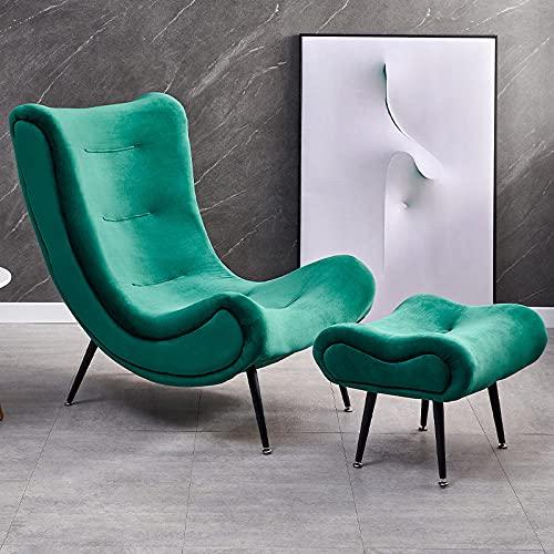 JIAHENGY Sillón de Tela de Lino Moderno, sofá salón con Marco de Acero al Carbono pies y taburetes de pie para Sala de Estar-Verde