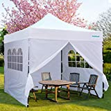 GALSOAR Outdoor Canopy, 10' x 10' Pop Up Canopy with Sidewalls, Portable Folding Canopies with Wheeled Carry Bag, Height Adjustable Commercial Instant Shelter, White