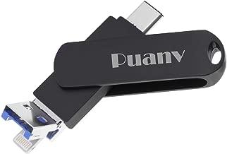 USB Flash Drive for iPhone Photo Stick 128GB USB C Thumb Drive 3in1 External Storage Memory Stick Puanv Compatible iPhoneX/iPad/iPod/MacBook/Android/PC/iOS(Black-128GB)