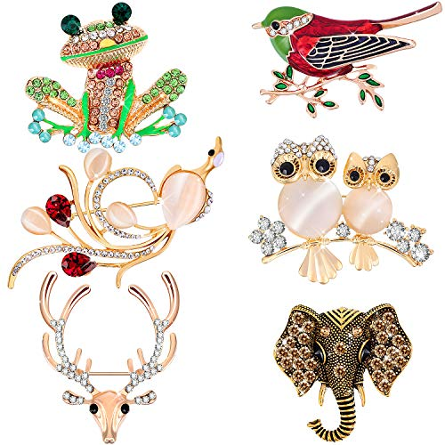 Hicarer 6 Pieces Christmas Women Brooch Set Crystal Pin Brooch Colorful Animal Shape Brooch Pin for Women Girls Party Favors (Deer Head, Owl, Frog, Elephant, Bird, Peacock Design)