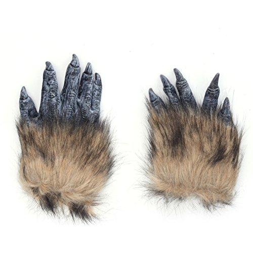 thematys Böser Wolf Klauen Krallen Handschuhe Maske - perfekt für Fasching, Karneval & Halloween - Kostüm für Erwachsene - Latex, Unisex Einheitsgröße