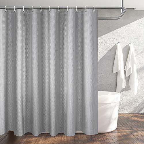 OTraki Duschvorhang 240x200, Textil Bad Vorhang aus Polyester Anti-Schimmel, Wasserdichter, Waschbar Stoff Badezimmer Vorhang Shower Curtain mit 16 Duschvorhängeringen und Beschwertem Saum