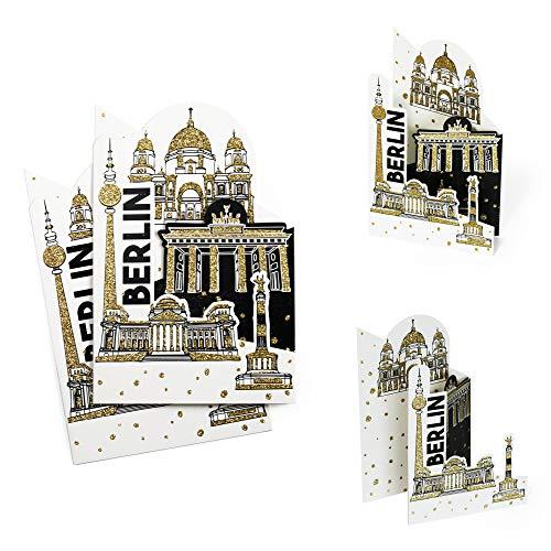 Bon podróżny, kartka z pozdrowieniami (2 szt.) Berlin z brokatem złotym, bon na wyprawę miasta Berlin, pomysł na prezent, bon upominkowy