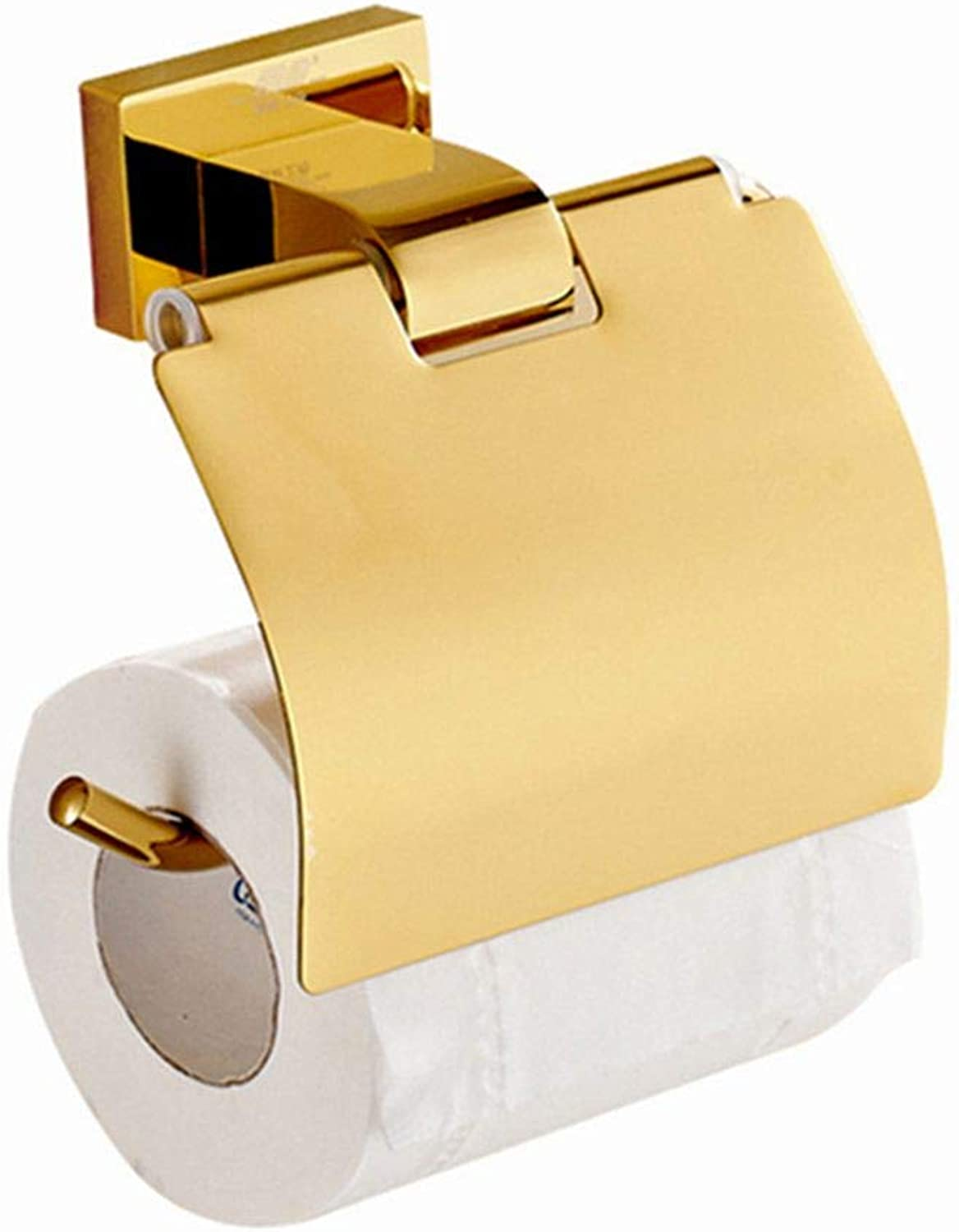 LUDSUY Toilet Paper Holder Luxury Polished golden with Cover Wall Mounted Brass Toilet Paper Hanger Bathroom Accessories