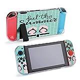 Diseño de verano lindo con letras dibujadas a mano, compatible con consola Nintendo Switch y funda protectora Joy-Con, duradera, flexible, absorción de golpes, antiarañazos, protección contra caídas