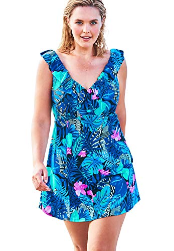 Swimsuits For All Women's Plus Size Ruffle-Neck Swim Dress Swimsuit - 18, Multi Tropical Floral