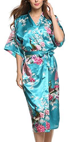 Avidlove Pijama Lencería Kimono largo pavo de satén y estampado floral para mujer, Azul klein, L