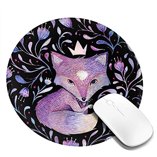 Pink Flower Fox Round Mouse Pad with Stitched Edge Premium-Textured Round Gaming Mousepad for Wireless Mouse Cute Women Fox Desk Accessories for Computer Office & Laptop 7.9 X 7.9 in