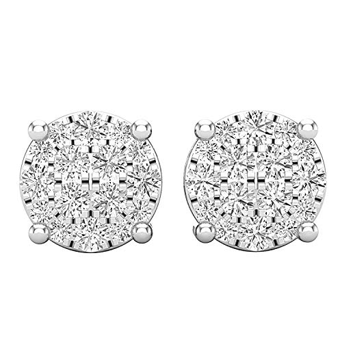 Dazzlingrock Collection 0.75 Carat (ctw) Round White Diamond Ladies Flower Cluster Stud Earrings 3/4 CT, Sterling Silver