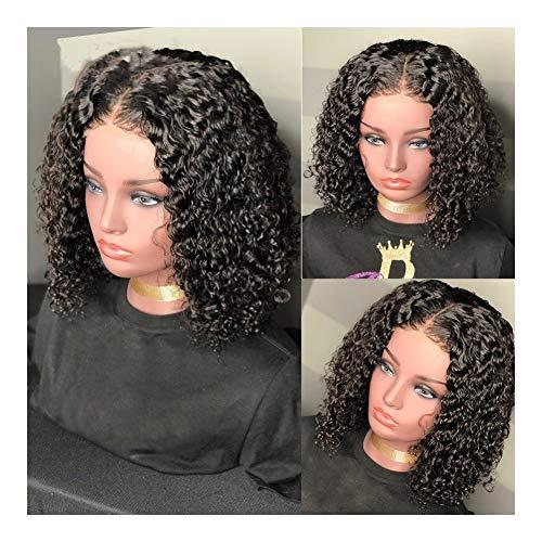 Femmes Court Bob vague profonde avant de dentelle perruque de cheveux humains Pré plumé Brésilien Curly Frontal Naturel Eau Perruques pour les femmes Cosplay Party