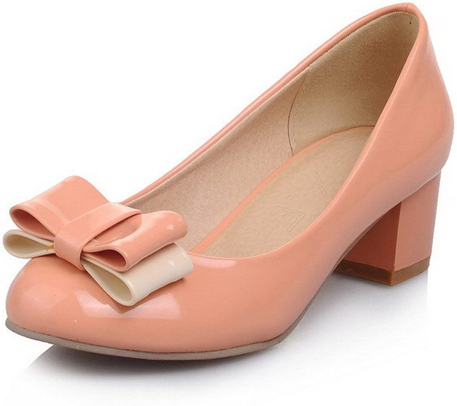 AllhqFashion Women's Patent Leather Pull-on Round Closed Toe Kitten-Heels Solid Pumps-shoes