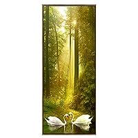 キャンバス絵画 森の日差しの風景 モダンフレームポスター 湖の白鳥 アートパネル 1枚 インテリア絵 壁アート プリント壁飾り 壁掛け 写真印刷の装飾 背景絵画 贈り物 木枠付ハングする,60x120cm
