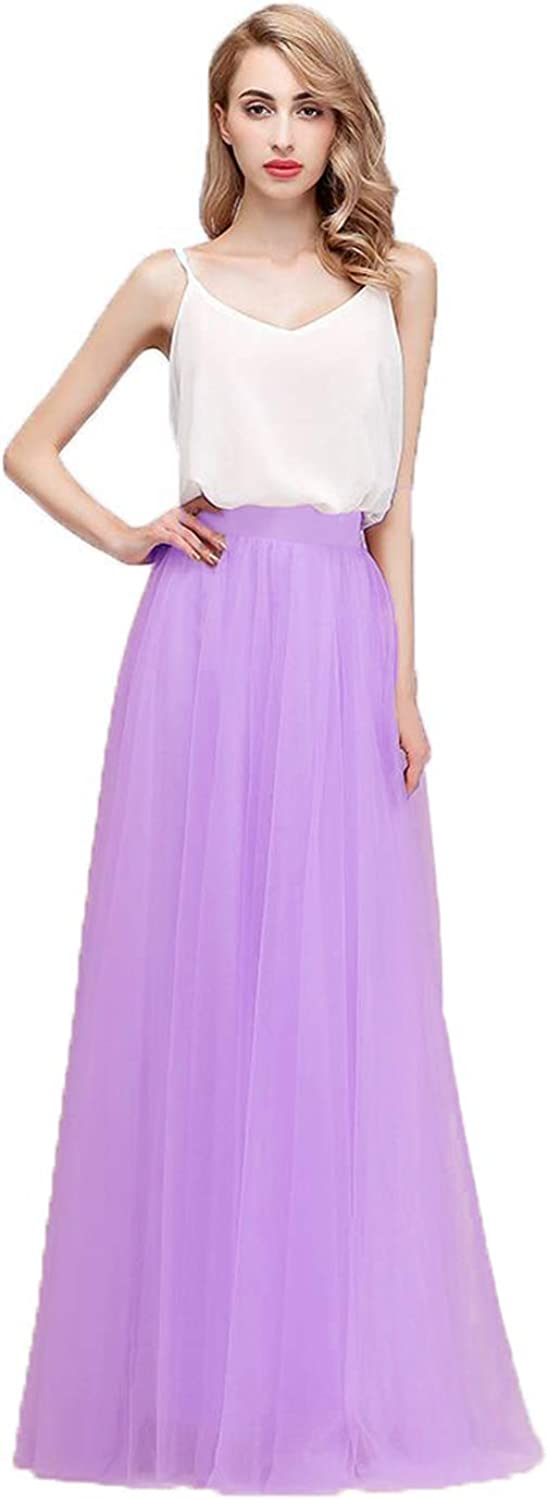Honey Qiao Women's Maxi High Waist Skirts bluesh Tulle Holiday Formal Skirt