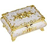 SUNYIK Vintage Enameled Rectangular Decorative Collectible Jewelry Trinket Box for Women,White with Golden Rose Flower