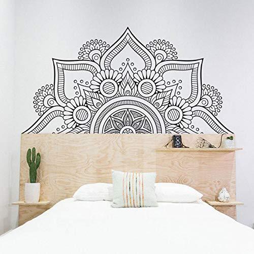 Calcomanías de cabecera de media mandala para dormitorio, calcomanía de pared bohemia, estudio de yoga, sala de meditación, decoración del hogar, pegatinas de arte para ventana, A6 42x84cm