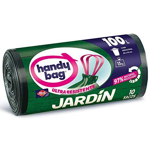 Handy Bag Bolsas de Basura 100L Jardín, 97% Reciclado, Extra Resistentes, 10 Sacos